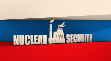 thermal power plant: Atomic power station icon. Nuclear security text. Russia flag backdrop
