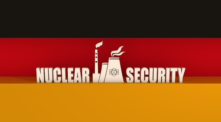 thermal power plant: Atomic power station icon. Nuclear security text. Germany flag backdrop