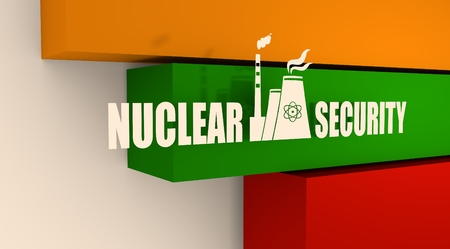 thermal power plant: Atomic power station icon. Nuclear security text. Lithuania flag backdrop