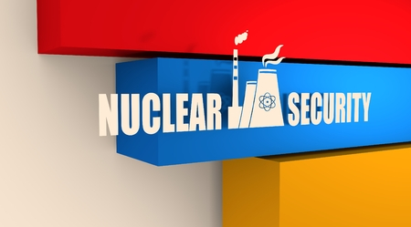 thermal pollution: Atomic power station icon. Nuclear security text. Armenia flag backdrop