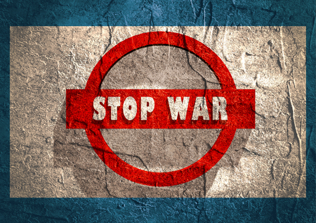 anti nuclear: Anti war poster. Stop war text. Road sign design. Concrete textured