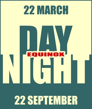equinox: Vector illustration for spring and autumn  equinox day. Day and night text. Monochrome image