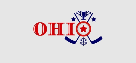 built: Image relative to canada and usa hockey. Ohio state name with built in emblem Illustration