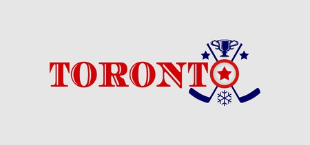 built: Image relative to canada and usa hockey. Toronto city name with built in emblem