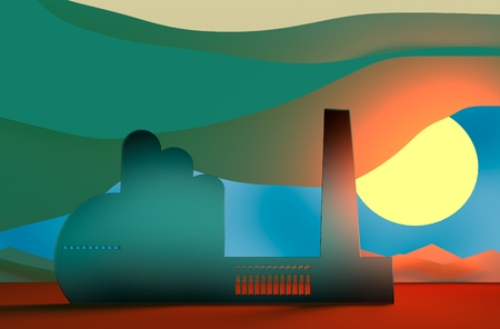 factory silhouette: Industry concept. Factory silhouette in desert landscape Stock Photo