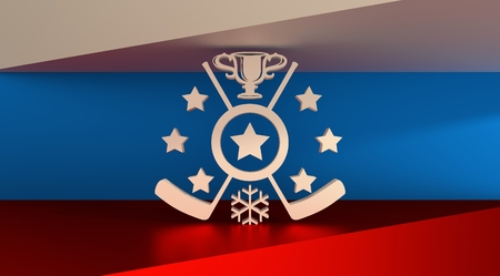 goverment: Ice hockey relative background. Hockey competition abstract emblem with Russia flag on backdrop