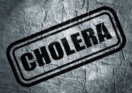 colera: Sello con el texto del cólera sobre el fondo de textura de hormigón. La ciencia médica tema relativo