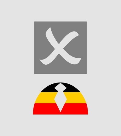 presidency: Check mark and human icon textured by germany flag. Image relative to parliament, president and others elections in Germany.