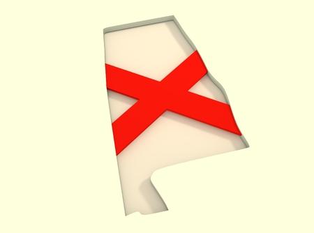 alabama state: Image relative to USA travel. Alabama state map and flag concept