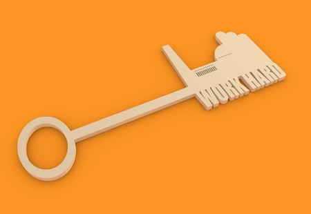 labor market: Flat design style modern illustration concept of hand holding a key of hard work. Factory icon and text on key
