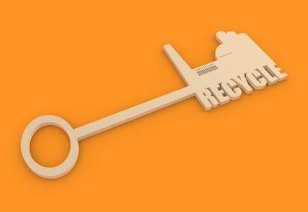 smokestack: Flat design style modern illustration concept of hand holding a key of recycle. Factory icon and text on key Stock Photo