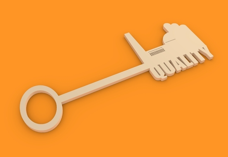 smokestack: Flat design style modern illustration concept of hand holding a key of industry quality. Factory icon and text on key