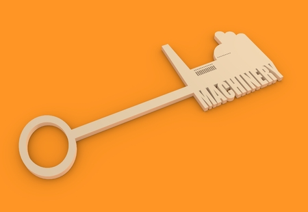 labor market: Flat design style modern illustration concept of hand holding a key of machinery. Factory icon and text on key
