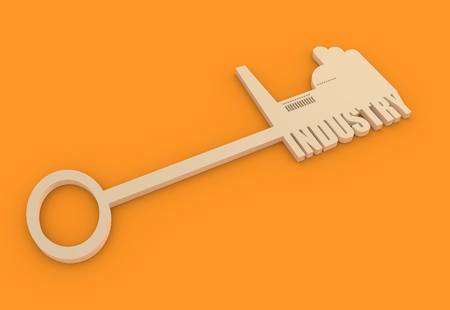 labor market: Flat design style modern illustration concept of hand holding a key of industry. Factory icon and text on key