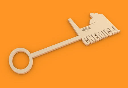 labor market: Flat design style modern illustration concept of hand holding a key of chemical industry. Factory icon and text on key