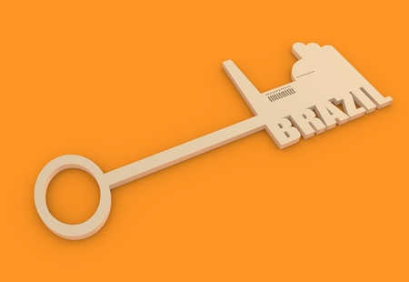 smokestack: Flat design style modern illustration concept of hand holding a key of Brazil. Factory icon and text on key