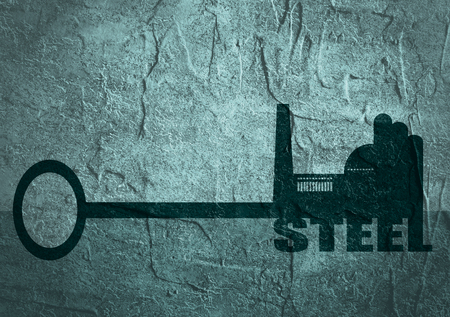 steel factory: Flat design style modern illustration concept of hand holding a key of steel. Factory icon and text on key. Concrete textured