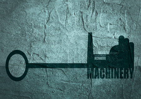 labor market: Flat design style modern illustration concept of hand holding a key of machinery. Factory icon and text on key. Concrete textured