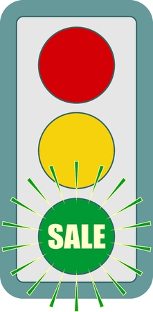 Traffic lights symbol. Sale text on green color. Flashing green. Motivation text