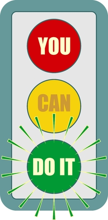 green it: Traffic lights symbol. You can do it text. Flashing green. Motivation text