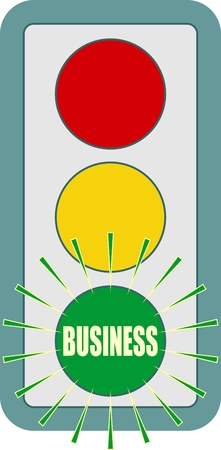 Traffic lights symbol. Business text on green color. Flashing green. Motivation text