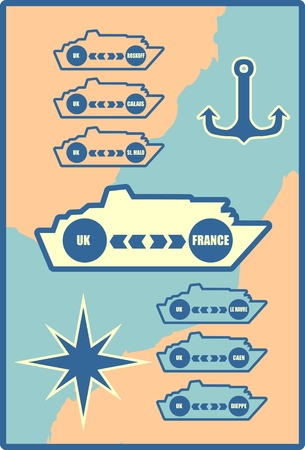 merchant: Ferryboat ship design element. Seaway line connection transport ferry vessel web background. Ideal for web site or social media network cover profile image.Routes from France to UK Illustration