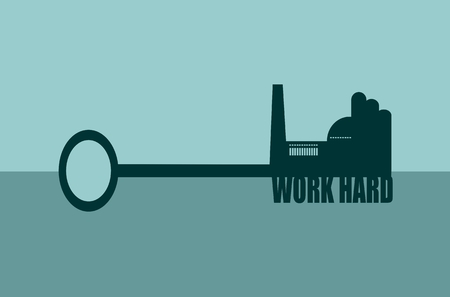 smokestack: Flat design style modern vector illustration concept of hand holding a key. Factory icon and work hard text on key Illustration