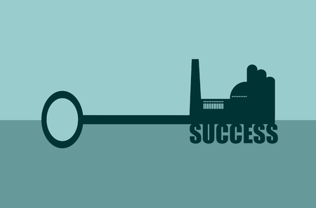 labor market: Flat design style modern vector illustration concept of hand holding a key of success. Factory icon and text on key