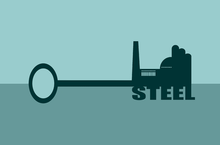 steel factory: Flat design style modern vector illustration concept of hand holding a key of steel. Factory icon and text on key Illustration
