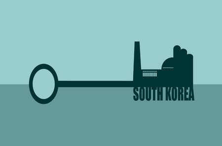 labor market: Flat design style modern vector illustration concept of hand holding a key . Factory icon and south korea text on key
