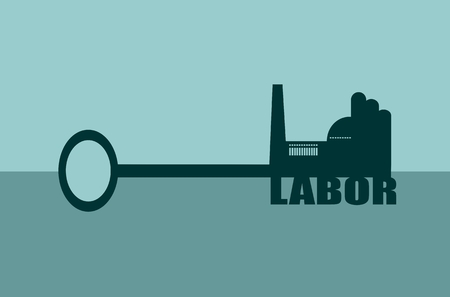 smokestack: Flat design style modern vector illustration concept of hand holding a key of labor. Factory icon and text on key