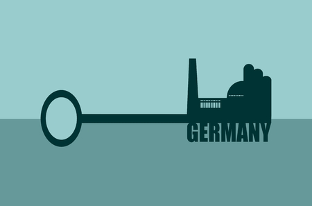 smokestack: Flat design style modern vector illustration concept of hand holding a key. Factory icon and Germany text on key