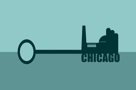 labor market: Flat design style modern vector illustration concept of hand holding a key of chicago. Factory icon and text on key Illustration
