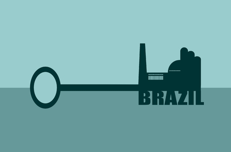 labor market: Flat design style modern vector illustration concept of hand holding a key of Brazil. Factory icon and text on key