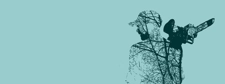 brutal: Double exposure of bearded brutal man with chainsaw. Tree branch on body.