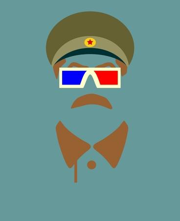 stalin: Vector portrait of Joseph Stalin. Soviet Union leader. Stereo glasses