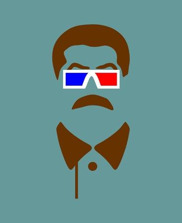 Vector portrait of Joseph Stalin. Soviet Union leader. Stereo glasses