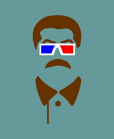 Vector portrait of Joseph Stalin. Soviet Union leader. Stereo glasses