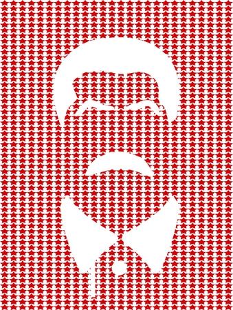 soviet union: Vector portrait of Joseph Stalin. Soviet Union leader. Flat icon style