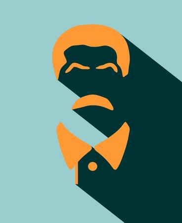 stalin: Vector portrait of Joseph Stalin. Soviet Union leader. Flat icon style
