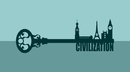 civilization: Diversity monuments of Europe, famous landmark as part of the key. Civilization text. Russian church, Big ben and Eiffel tower Illustration