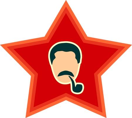 stalin: Vector portrait of Joseph Stalin. Soviet Union leader. Head on red star background