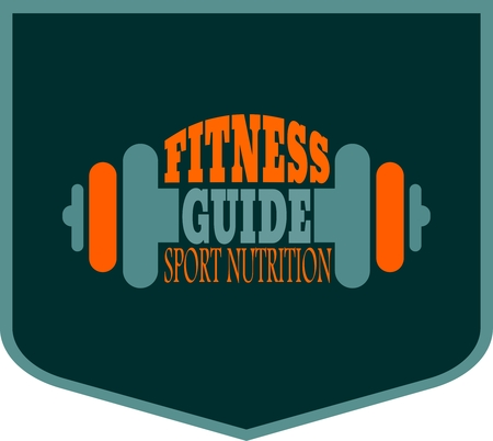 body building: Fitness guide text. Creative Vector Typography Poster Concept. Letters and dumbbell icons. Body building relative Illustration
