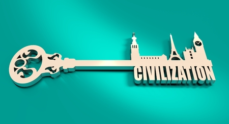 civilization: Diversity monuments of Europe, famous landmark as part of the key. Civilization text. Russian church, Big ben and Eiffel tower Stock Photo