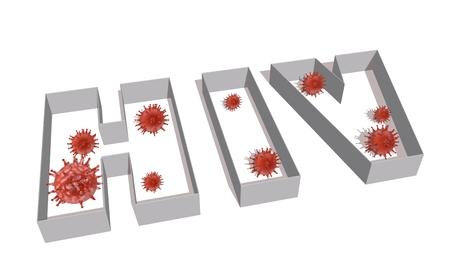 Abstract virus image on backdrop and hiv text. HIV virus danger relative illustration. Medical research theme. Virus epidemic alert Stock Photo
