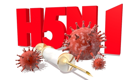 h5n1: Abstract virus image on backdrop and H5N1 text. H5N1 virus danger relative illustration. Medical research theme. Virus epidemic alert Stock Photo