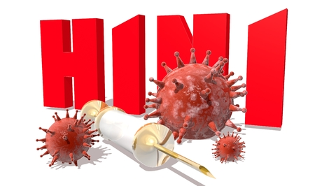 h1n1 vaccinations: Abstract virus image on backdrop and H1N1 text. H1N1 virus danger relative illustration. Medical research theme. Virus epidemic alert Stock Photo