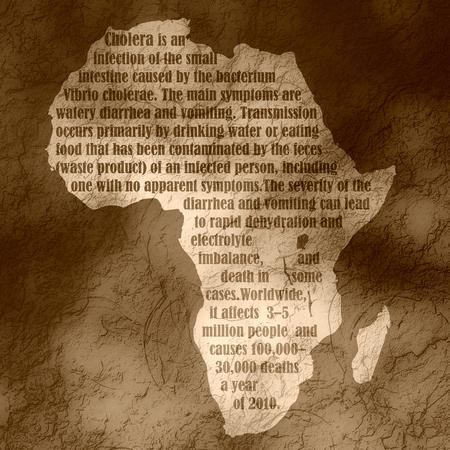 colera: mapa del continente africano con la descripci�n del c�lera texto. el tema de la investigaci�n m�dica. Alerta de virus epidemia.