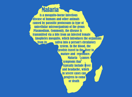 malaria: African continent map with malaria description text. Medical research theme. Virus epidemic alert.