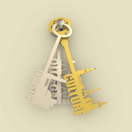 secret place: Various keys with landmarks, factory, gas rig and pump jack. Choosing between culture and industry metaphor